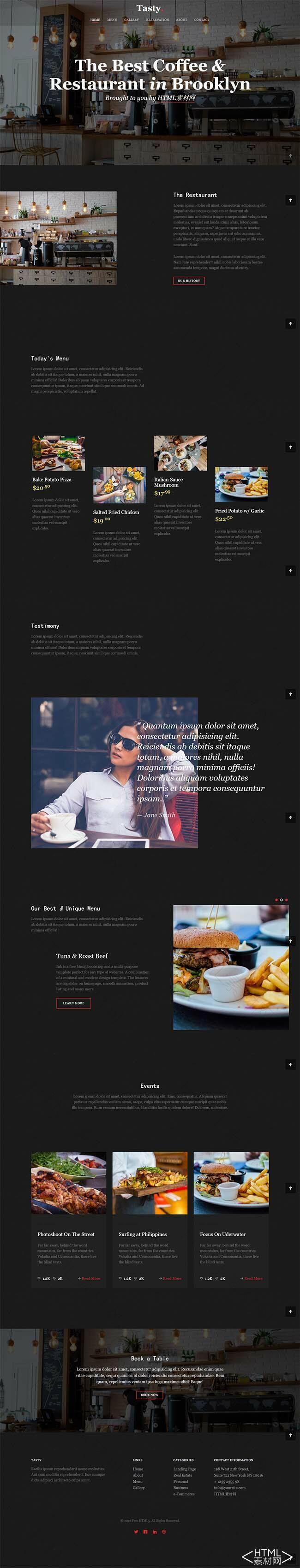 黑色的下午茶咖啡店网站html5模板.jpg