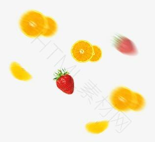 橘子切片草莓新鲜水果