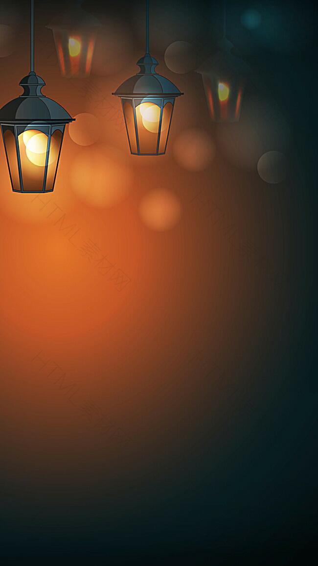 温暖夜晚灯光矢量背景图