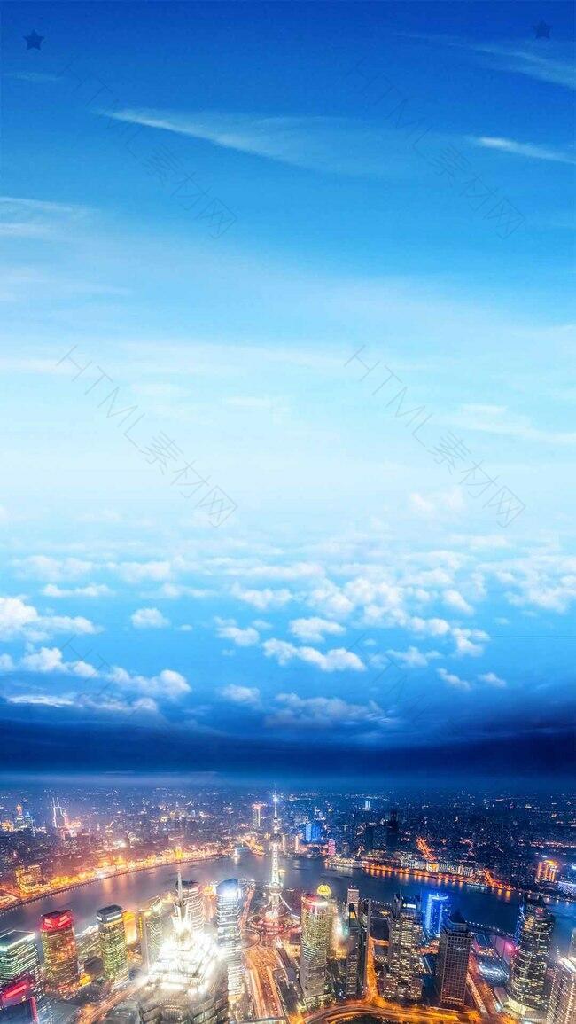 外滩自驾游上海游H5背景素材