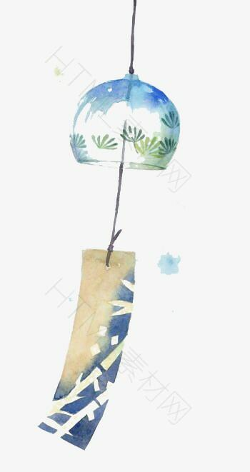日式手绘浅蓝色水彩漂浮风铃