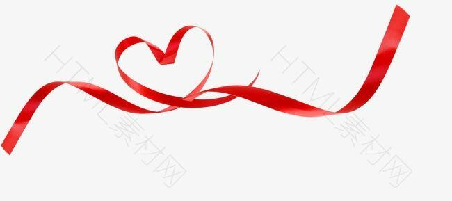 漂浮的爱心红丝带
