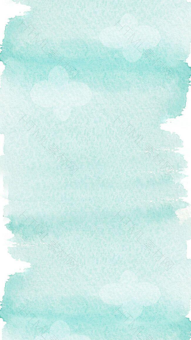 浅蓝色水彩质感花朵背景图