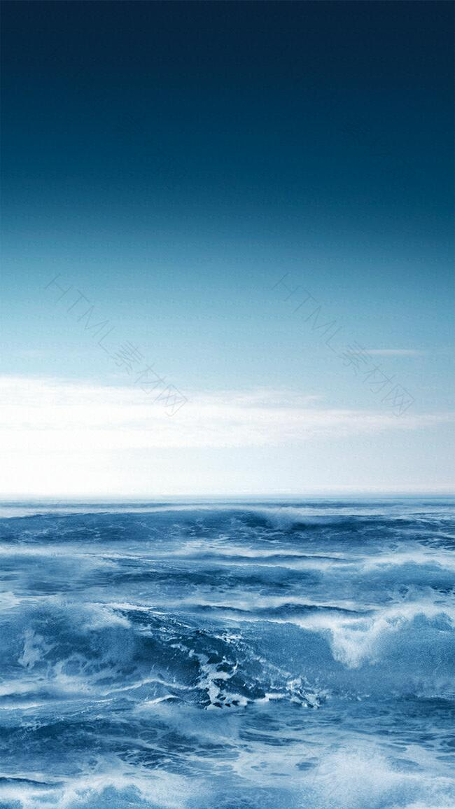 蓝天白云碧海海浪背景素材