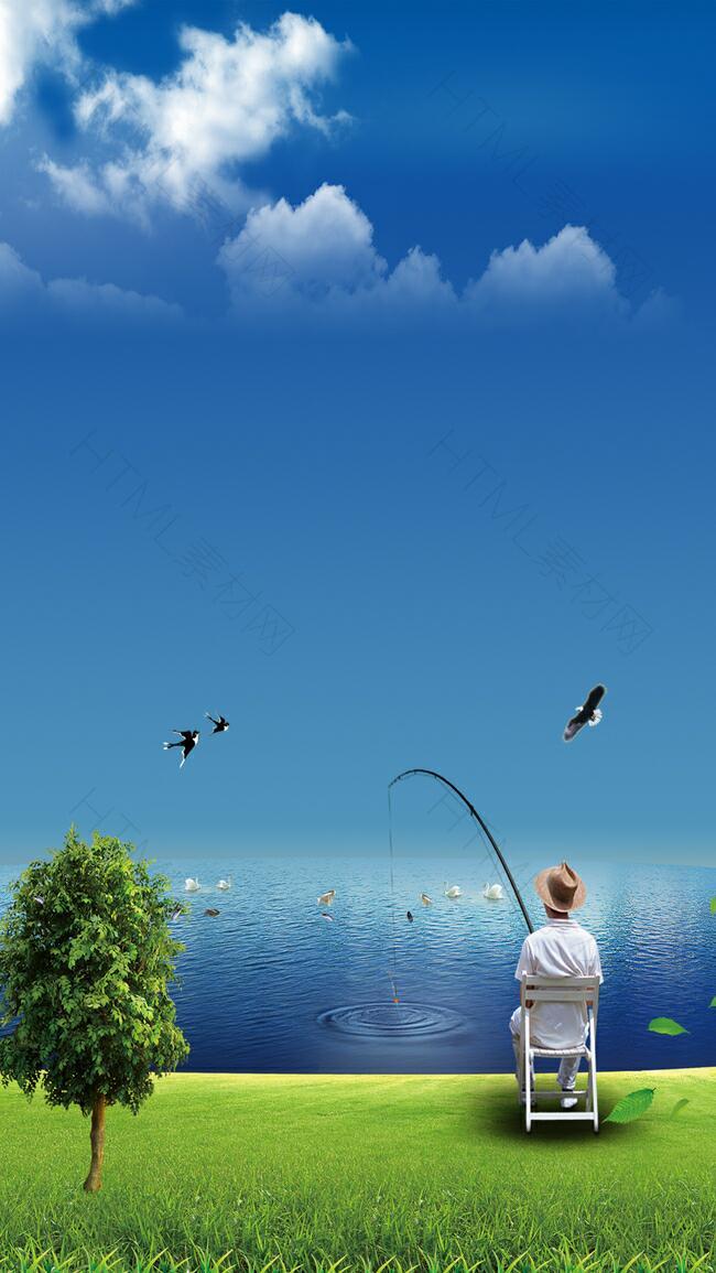 钓鱼河边蓝色背景素材