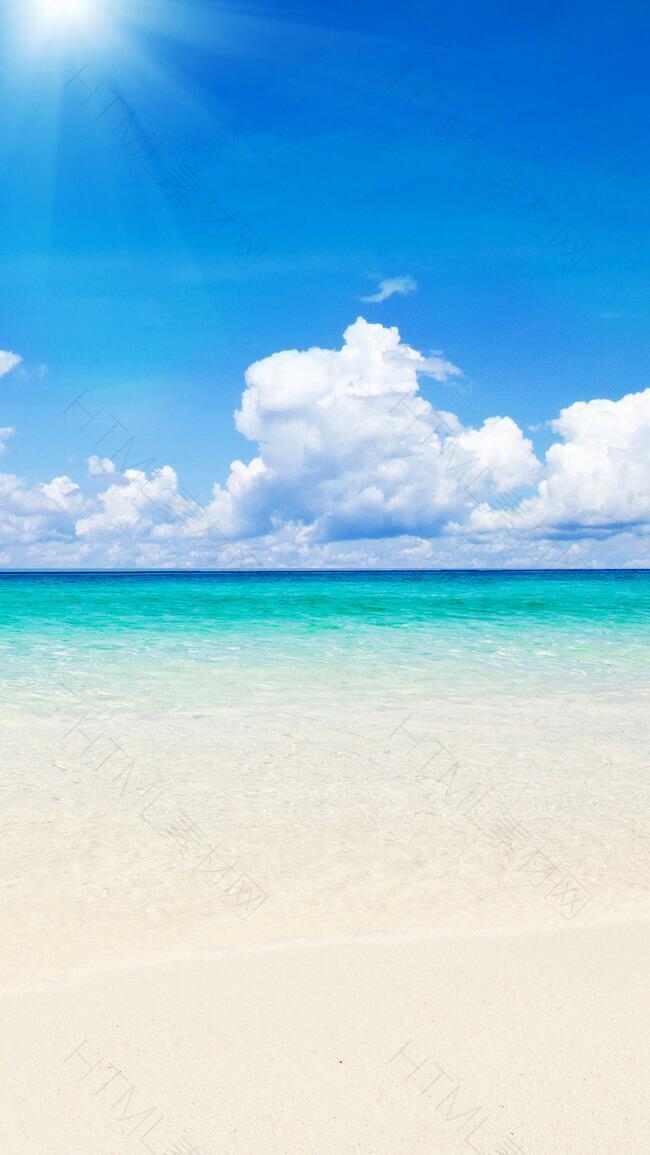 卡通蓝天白云沙滩H5背景素材