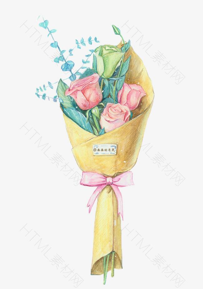 手绘水彩玫瑰花束