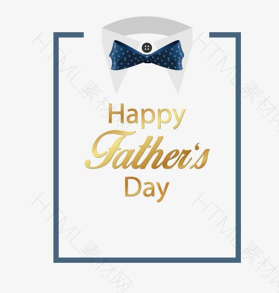 父亲节蓝色蝴蝶结衬衣矢量素材