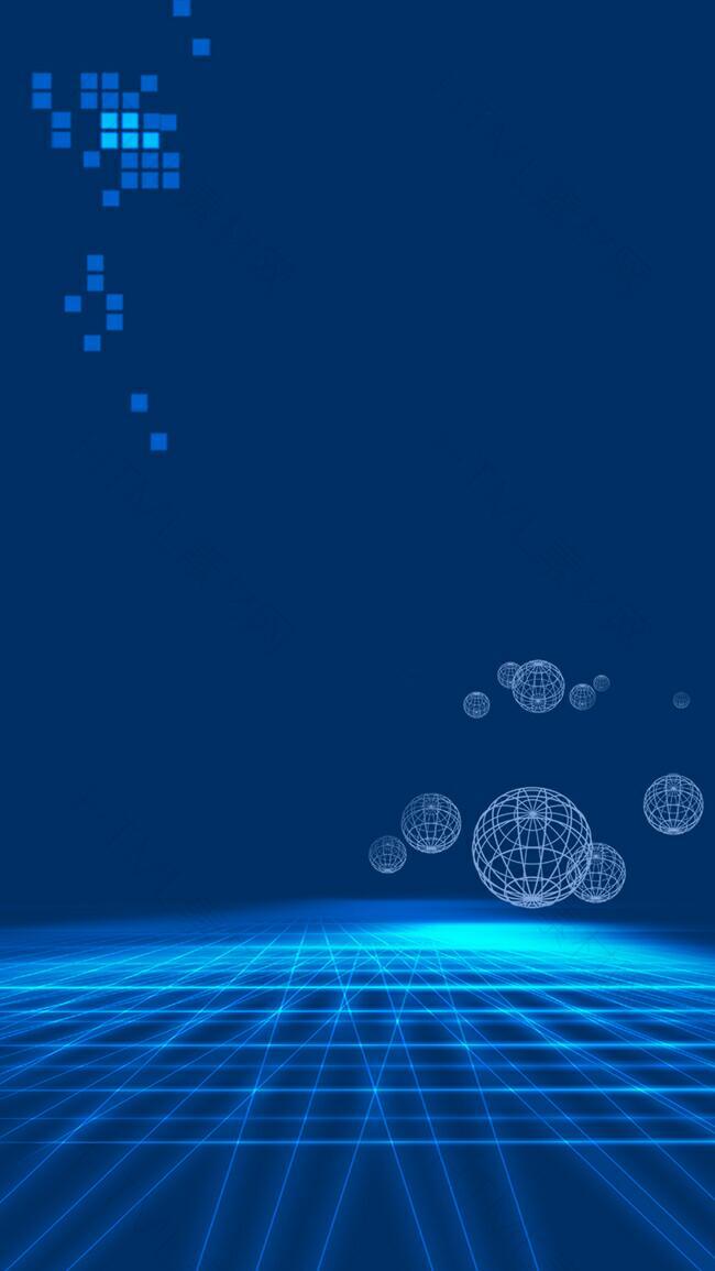 蓝色科技线条H5背景素材