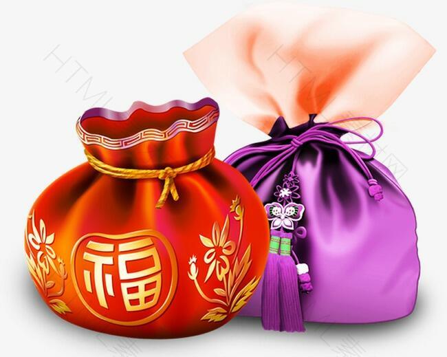 红色紫色福袋装饰