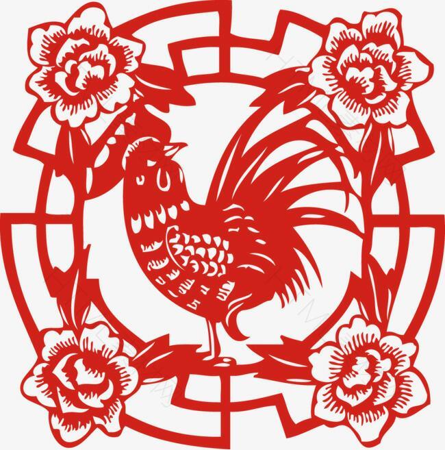 春节窗花富贵牡丹鸡年剪纸雄鸡报