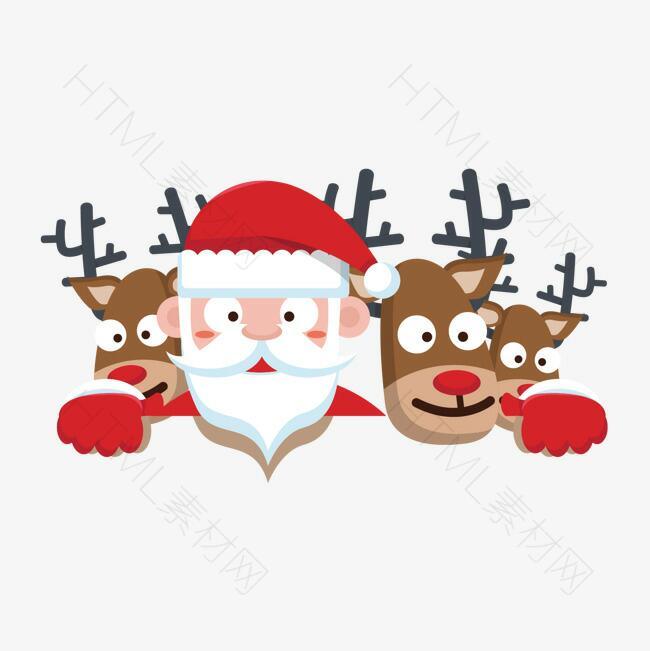 卡通圣诞老人与驯鹿矢量图