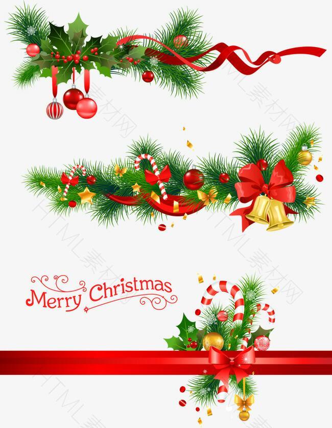 圣诞节铃铛与松枝