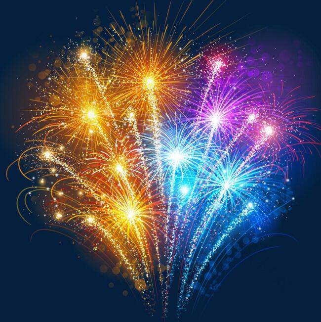 新年庆祝绚烂多色绽放烟花