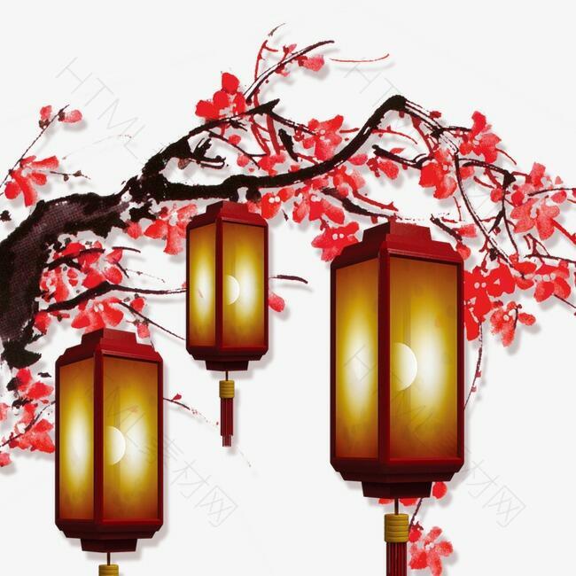 腊梅挂灯笼春节装饰
