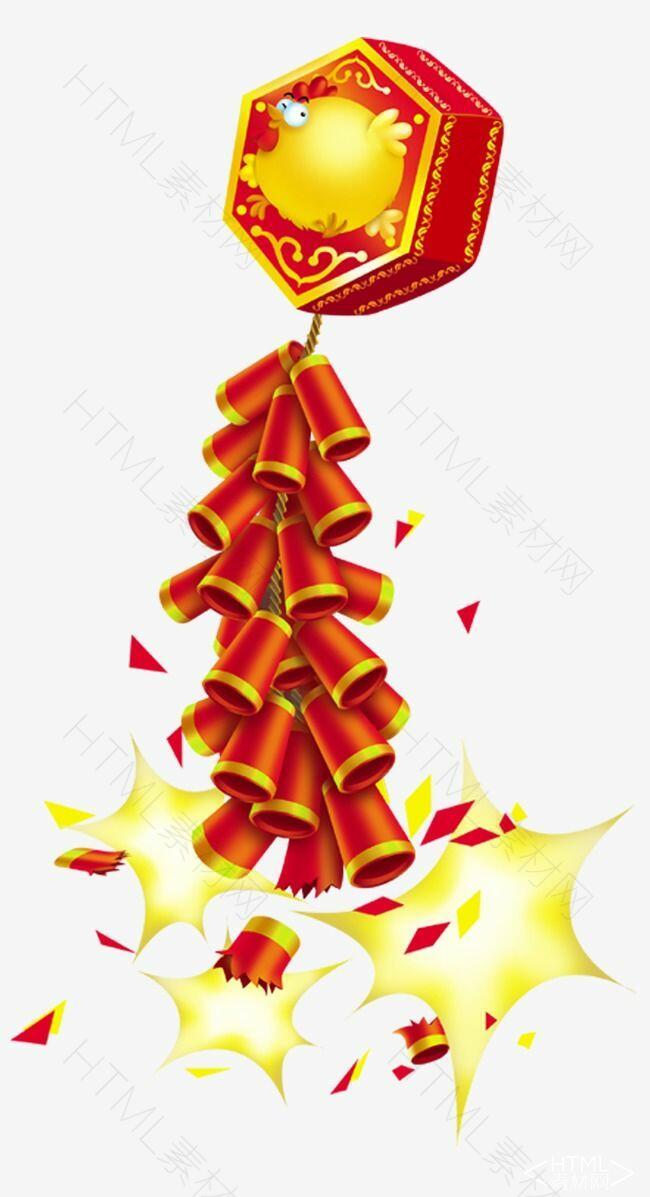 新年爆炸红色金色鞭炮