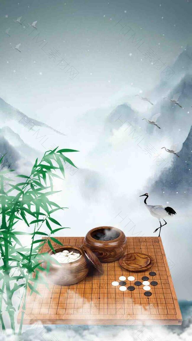 灰色 围棋 中国风 psd分层 h5 背景素材 传统 山水 水墨画 竹子 棋盘