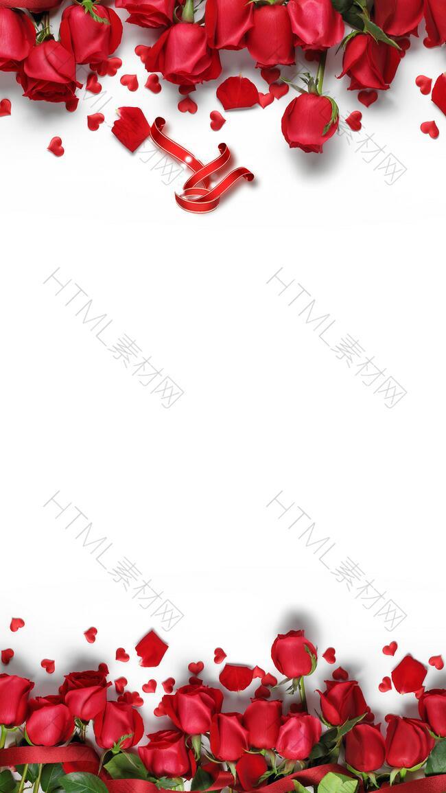 简约情人节玫瑰H5背景