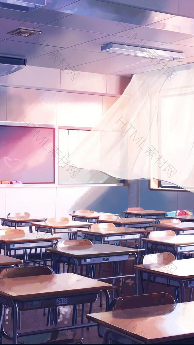 手绘唯美教室H5背景素材