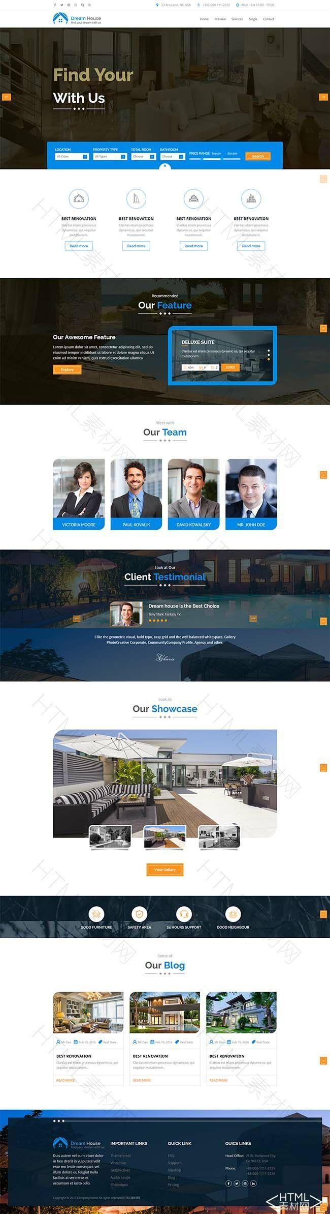 蓝色页面齐全的房地产功能内容丰富响应式模板.jpg