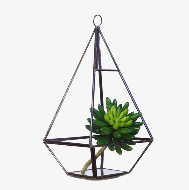 几何玻璃罩摆件