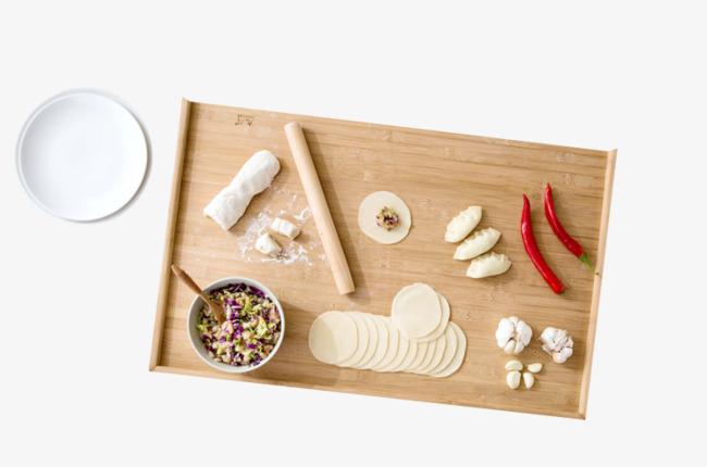 手工包饺子面团素材