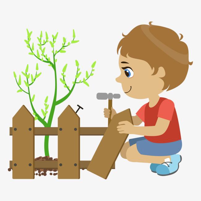 卡通小孩植树节手绘