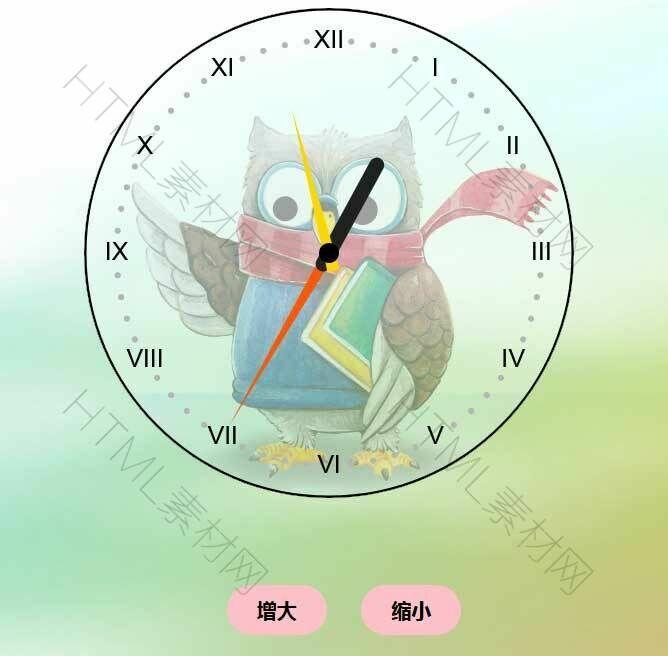 html5 canvas创意的猫头鹰时钟代码.jpg