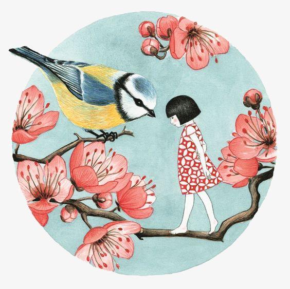 花鸟和少女