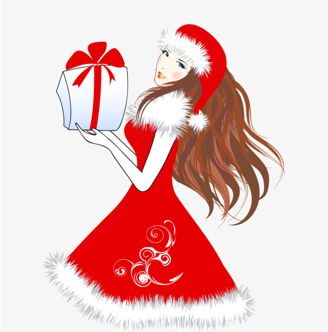 收礼物的圣诞节少女插画