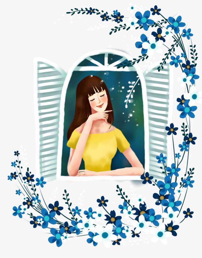 窗前的美少女插画素材