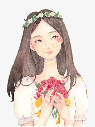 手捧鲜花的少女