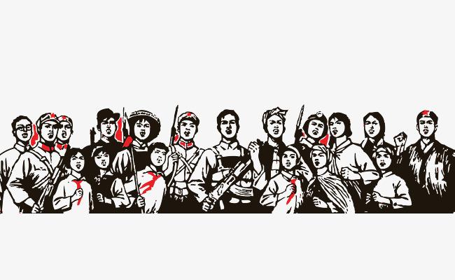 黑白手绘古典五一劳动人民