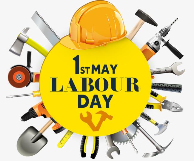 五一劳动节装饰劳动工具主题插图