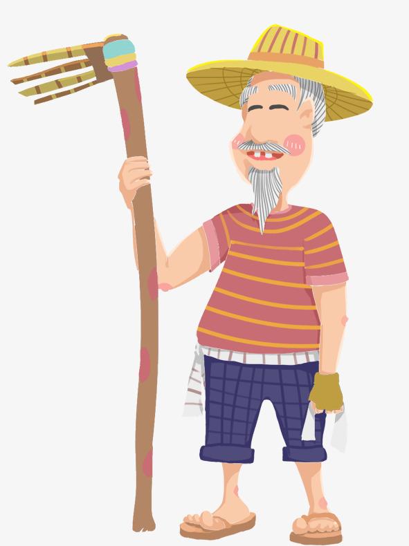 手绘人物插图五一劳动节辛苦的老