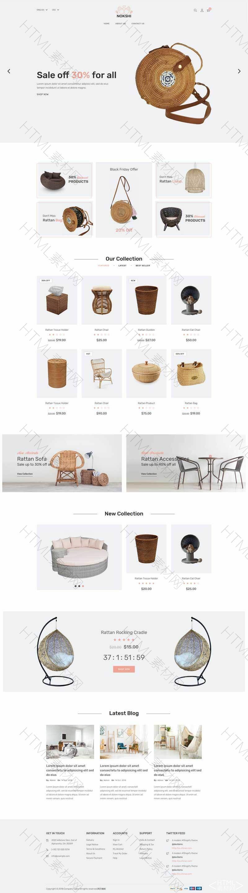 简洁的手工编织商品展示网站模板.jpg
