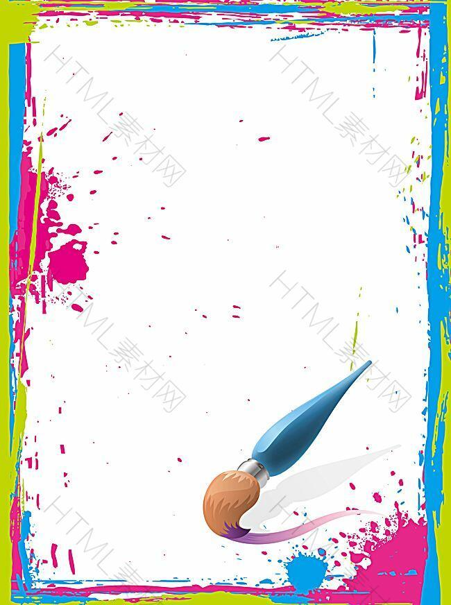 矢量墨迹毛笔涂鸦边框背景素材
