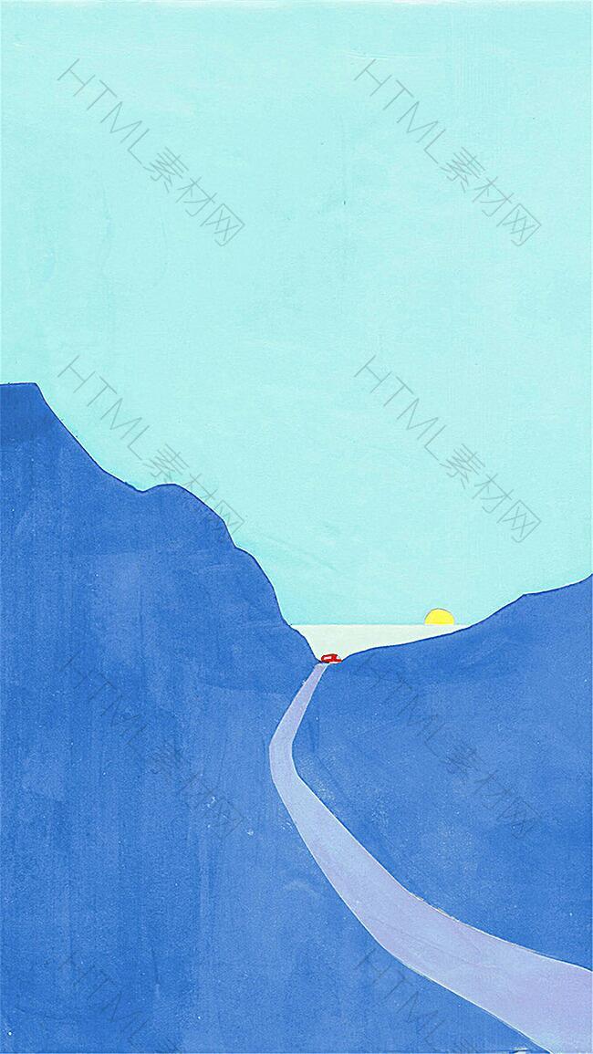 卡通矢量山路背景
