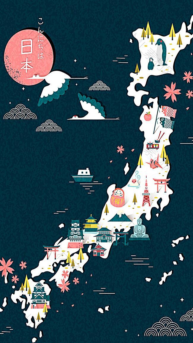 日本旅游地图H5背景