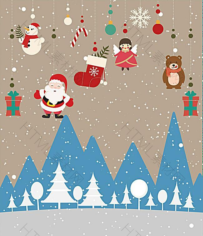 可爱卡通圣诞节背景图