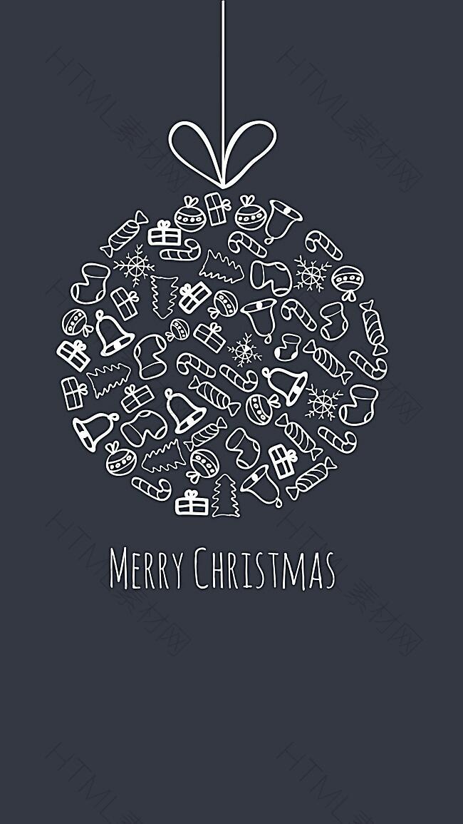 黑色圣诞快乐无装饰矢量背景图
