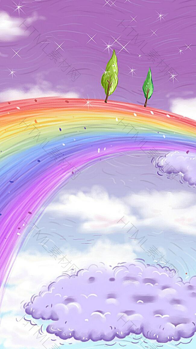 彩虹上的树木H5背景
