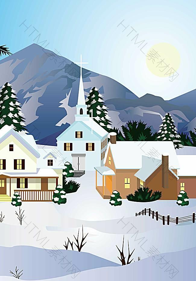 冬至雪屋背景装饰