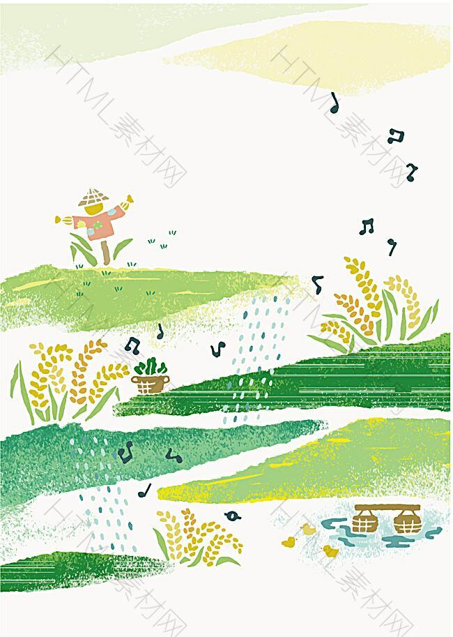 矢量稻田手绘海报