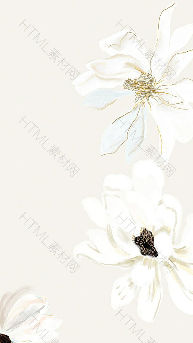 淡雅手绘花朵H5背景