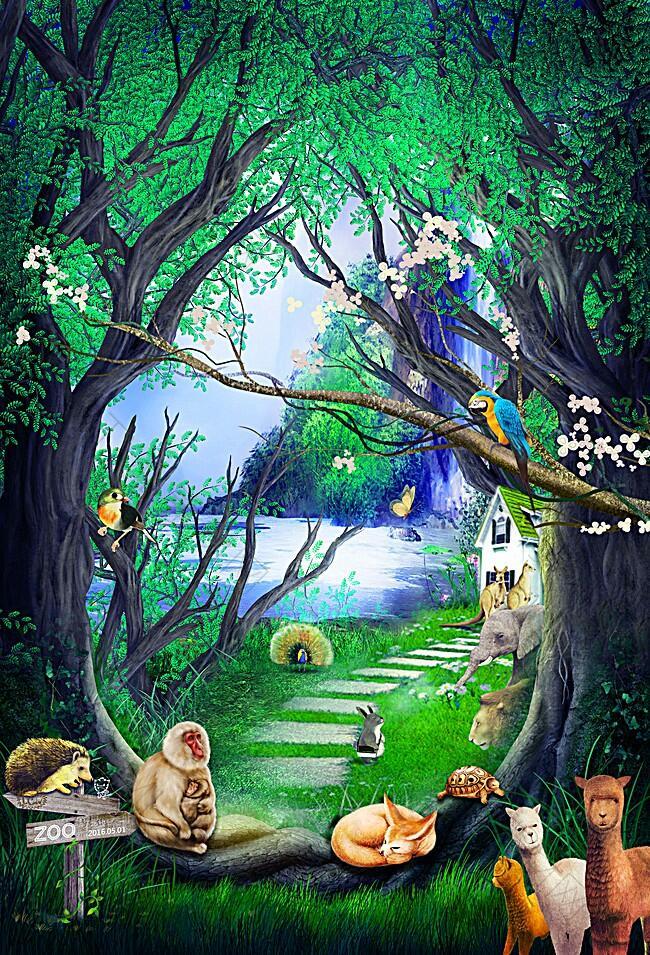 森林动物背景