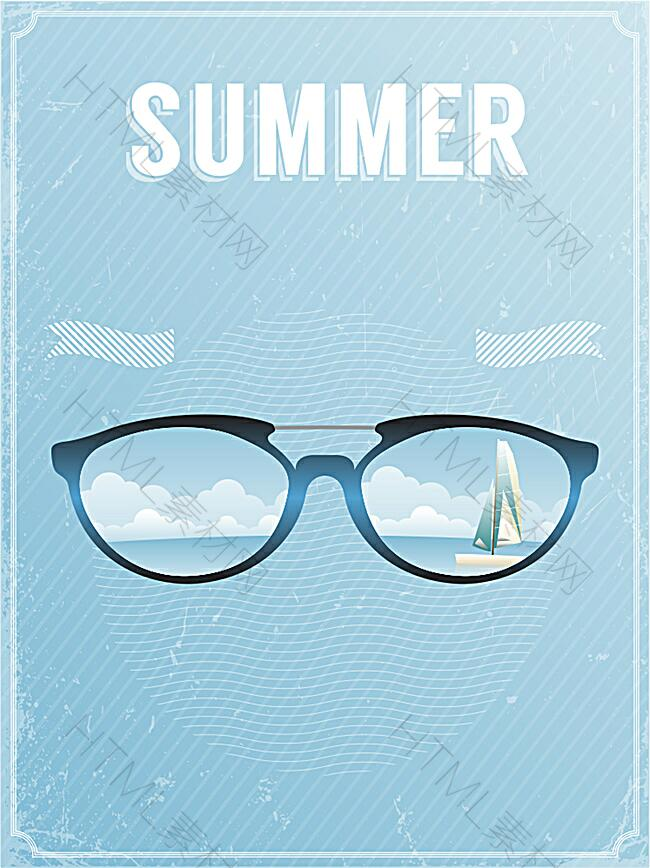 天蓝色夏日旅游背景图