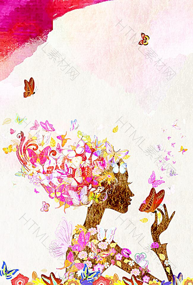 浪漫女性彩绘画海报