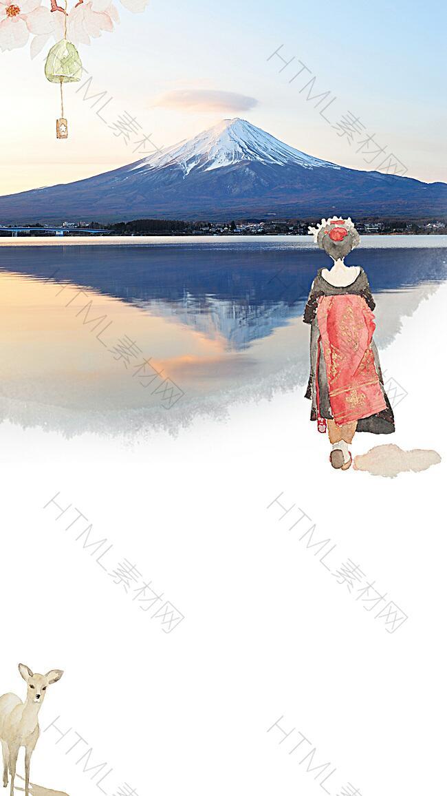 手绘日本旅游宣传海报