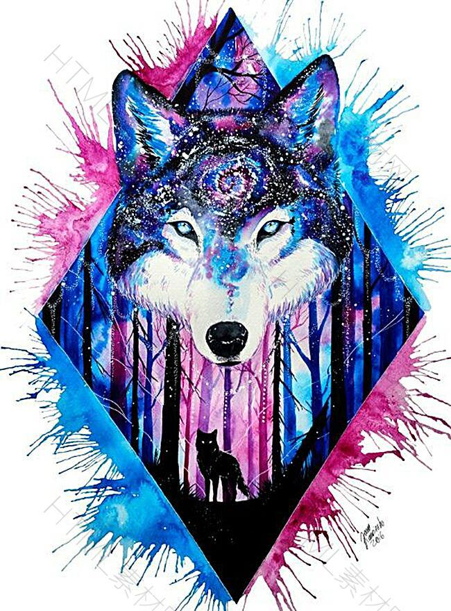 创意水彩手绘狼头背景